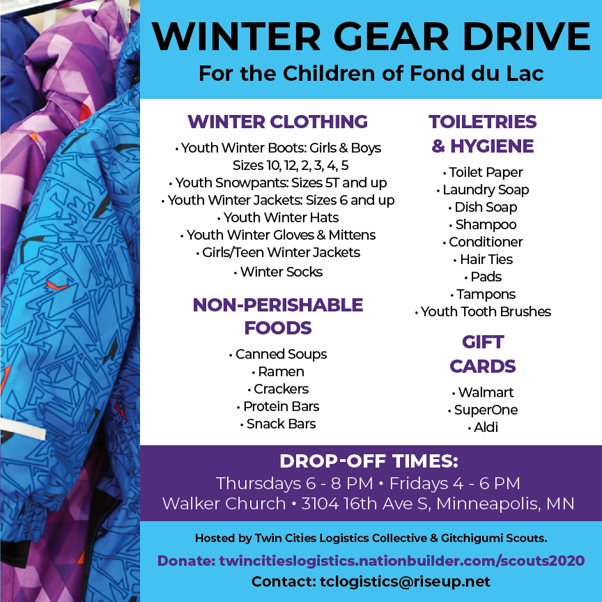 Infographic about the 2020 Winter Gear Drive for Fond Du Lac Children